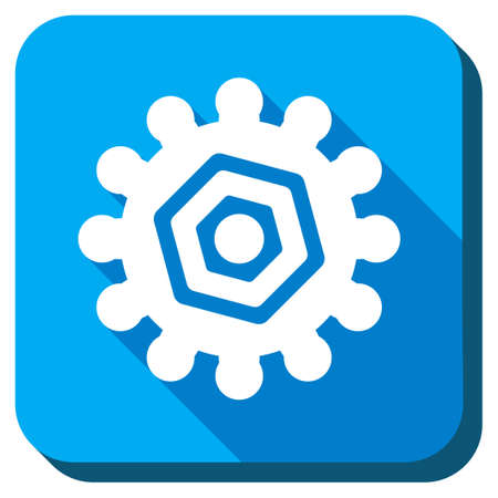 config: Gear vector icon. Style is rounded square light blue button with long shadows. Symbol color is white.