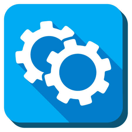 Gears vector icon. Style is rounded square light blue button with long shadows. Symbol color is white. Vector Illustration