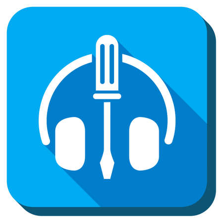 head phones: Headphones Tools vector icon. Style is rounded square light blue button with long shadows. Symbol color is white.
