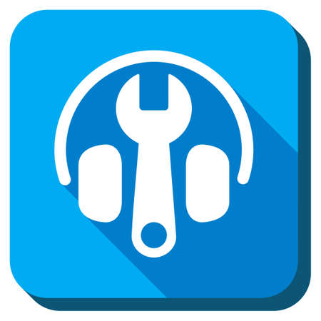 head phones: Headphones Tuning vector icon. Style is rounded square light blue button with long shadows. Symbol color is white.