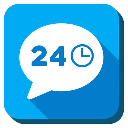 nonstop: Message Hours vector icon. Style is rounded square light blue button with long shadows. Symbol color is white. Illustration