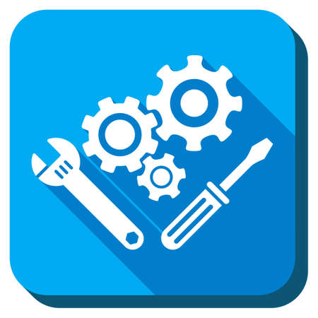 gear box: Mechanics Tools vector icon. Style is rounded square light blue button with long shadows. Symbol color is white.
