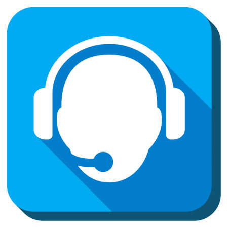 head phones: Operator Head vector icon. Style is rounded square light blue button with long shadows. Symbol color is white.