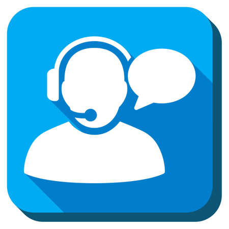 head phones: Operator Message vector icon. Style is rounded square light blue button with long shadows. Symbol color is white.