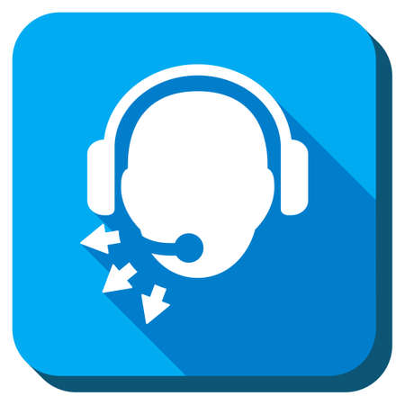 head phones: Manager Message vector icon. Style is rounded square light blue button with long shadows. Symbol color is white.