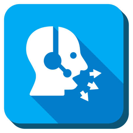 face with headset: Operator Message vector icon. Style is rounded square light blue button with long shadows. Symbol color is white.