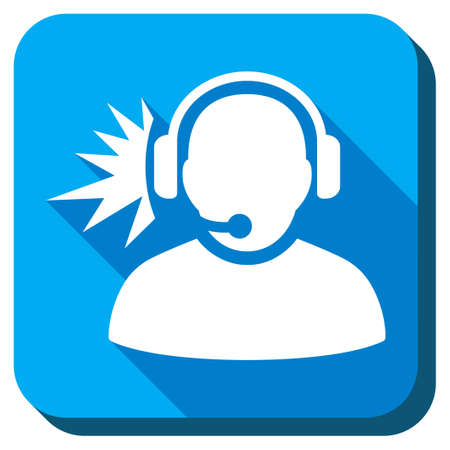 head phones: Operator Signal vector icon. Style is rounded square light blue button with long shadows. Symbol color is white.