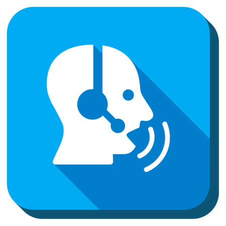 head phones: Manager Signal vector icon. Style is rounded square light blue button with long shadows. Symbol color is white. Illustration