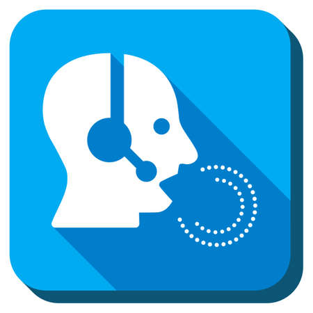head phones: Manager Speech vector icon. Style is rounded square light blue button with long shadows. Symbol color is white. Illustration