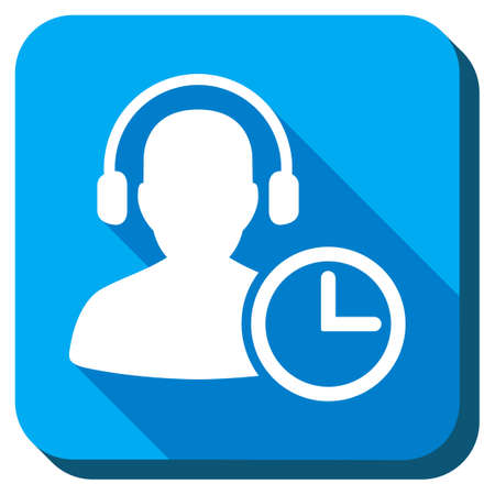 head phones: Operator Time vector icon. Style is rounded square light blue button with long shadows. Symbol color is white.