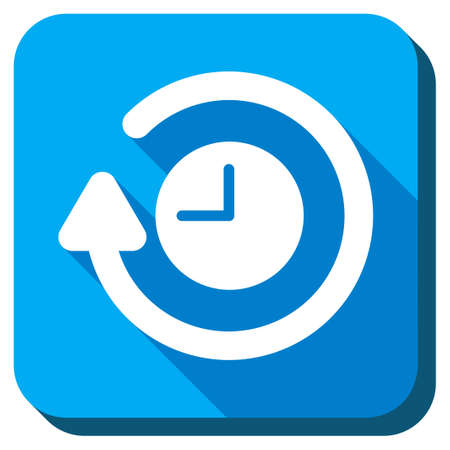 arrowheads: Repeat Clock vector icon. Style is rounded square light blue button with long shadows. Symbol color is white.