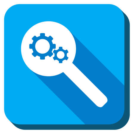 gear box: Find Tools vector icon. Style is rounded square light blue button with long shadows. Symbol color is white.