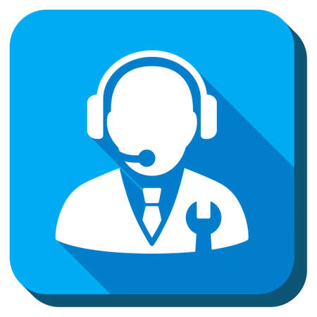 setup operator: Service Manager vector icon. Style is rounded square light blue button with long shadows. Symbol color is white.
