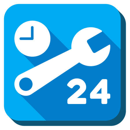 nonstop: Service Hours vector icon. Style is rounded square light blue button with long shadows. Symbol color is white.