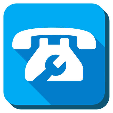 telephone icon: Service Telephone vector icon. Style is rounded square light blue button with long shadows. Symbol color is white.