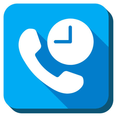 phone time: Phone Time glyph icon. Style is rounded square light blue button with long shadows. Symbol color is white.