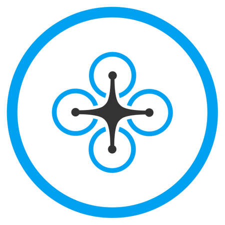 selected: Aircraft vector icon. Style is bicolor flat circled symbol, blue and gray colors, rounded angles, white background. Illustration
