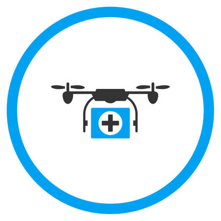 Emergency Nanocopter vector icon. Style is bicolor flat circled symbol, blue and gray colors, rounded angles, white background.
