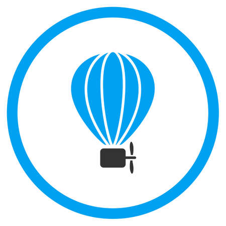 dirigible: Balloon Airship vector icon. Style is bicolor flat circled symbol, blue and gray colors, rounded angles, white background. Illustration