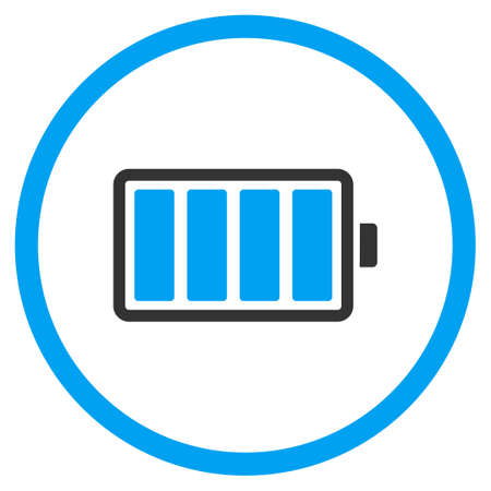 cadmium: Battery vector icon. Style is bicolor flat circled symbol, blue and gray colors, rounded angles, white background.