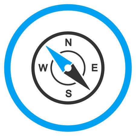 circled: Compass vector icon. Style is bicolor flat circled symbol, blue and gray colors, rounded angles, white background. Illustration