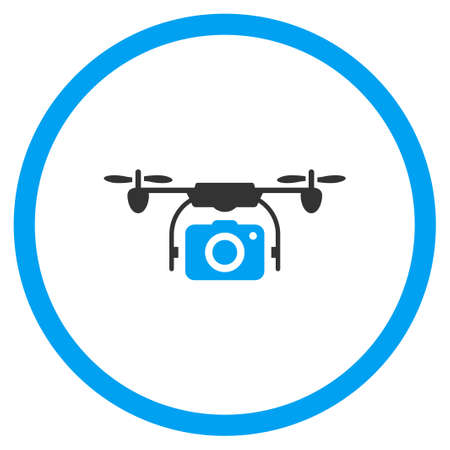 airflight: Air Copter Camera vector icon. Style is bicolor flat circled symbol, blue and gray colors, rounded angles, white background.