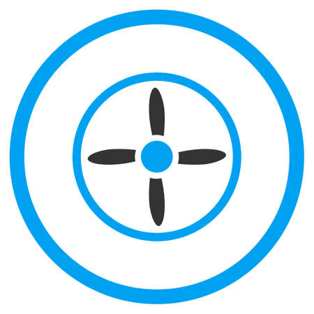 air flow: Nanocopter Screw vector icon. Style is bicolor flat circled symbol, blue and gray colors, rounded angles, white background. Illustration