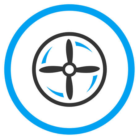 impeller: Aircraft Screw Rotation vector icon. Style is bicolor flat circled symbol, blue and gray colors, rounded angles, white background.