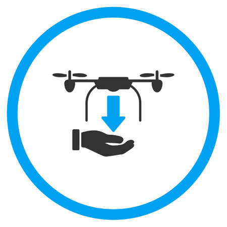 to unload: Hand Unload Air Copter vector icon. Style is bicolor flat circled symbol, blue and gray colors, rounded angles, white background. Illustration