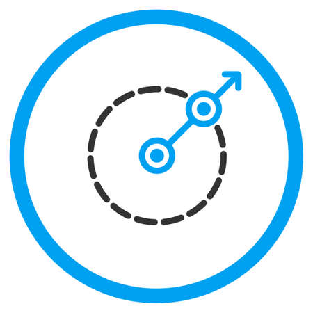 bounds: Round Area Exit vector icon. Style is bicolor flat circled symbol, blue and gray colors, rounded angles, white background.