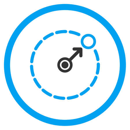 bounds: Round Area Radius vector icon. Style is bicolor flat circled symbol, blue and gray colors, rounded angles, white background. Illustration