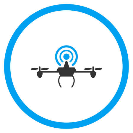 repeater: Wifi Repeater Air Copter vector icon. Style is bicolor flat circled symbol, blue and gray colors, rounded angles, white background.