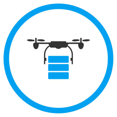 airflight: Cargo Aircraft glyph icon. Style is bicolor flat circled symbol, blue and gray colors, rounded angles, white background. Stock Photo