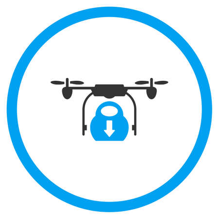 airflight: Nanocopter Drop Down Cargo glyph icon. Style is bicolor flat circled symbol, blue and gray colors, rounded angles, white background. Stock Photo