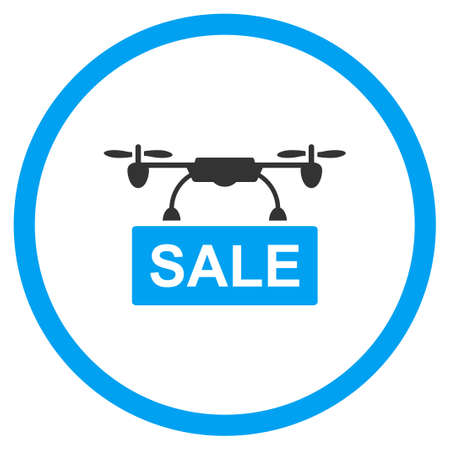 airflight: Drone Sale glyph icon. Style is bicolor flat circled symbol, blue and gray colors, rounded angles, white background. Stock Photo