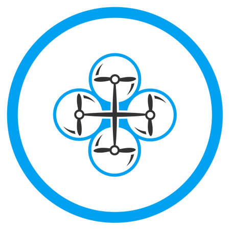 impeller: Air Drone Screws glyph icon. Style is bicolor flat circled symbol, blue and gray colors, rounded angles, white background.