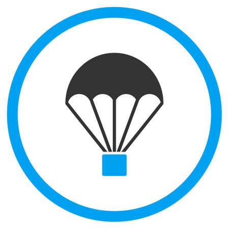 circled: Parachute glyph icon. Style is bicolor flat circled symbol, blue and gray colors, rounded angles, white background.