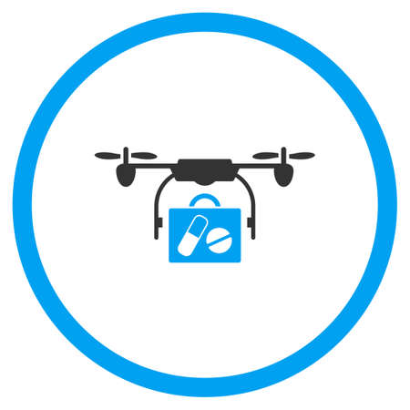 the case selected: Pharmacy Case Air Copter Shipment glyph icon. Style is bicolor flat circled symbol, blue and gray colors, rounded angles, white background.