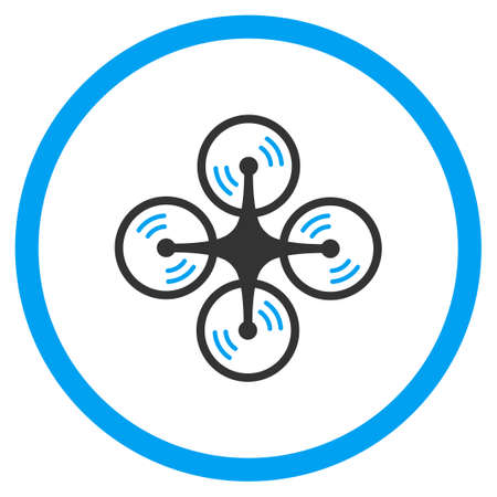 impeller: Drone Screw Rotation glyph icon. Style is bicolor flat circled symbol, blue and gray colors, rounded angles, white background.