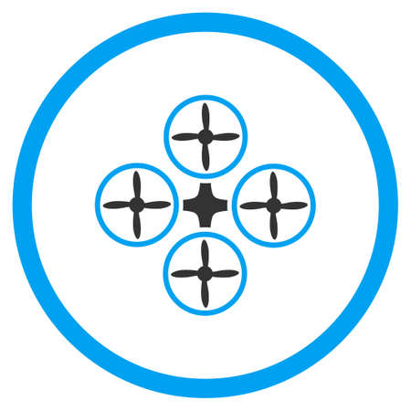 mech: Nanocopter glyph icon. Style is bicolor flat circled symbol, blue and gray colors, rounded angles, white background. Stock Photo