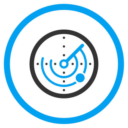 Radar glyph icon. Style is bicolor flat circled symbol, blue and gray colors, rounded angles, white background.