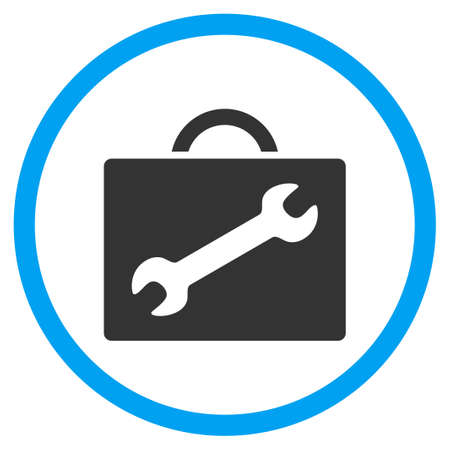 circled: Repair Equipment Case glyph icon. Style is bicolor flat circled symbol, blue and gray colors, rounded angles, white background.