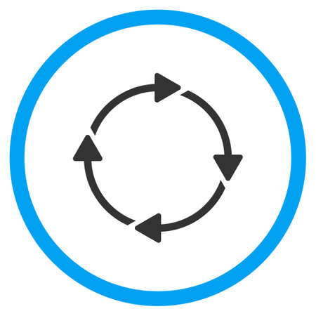 circled: Rotation Arrows glyph icon. Style is bicolor flat circled symbol, blue and gray colors, rounded angles, white background.