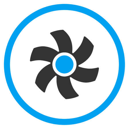 impeller: Rotor glyph icon. Style is bicolor flat circled symbol, blue and gray colors, rounded angles, white background. Stock Photo