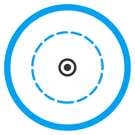 zonal: Round Area glyph icon. Style is bicolor flat circled symbol, blue and gray colors, rounded angles, white background.