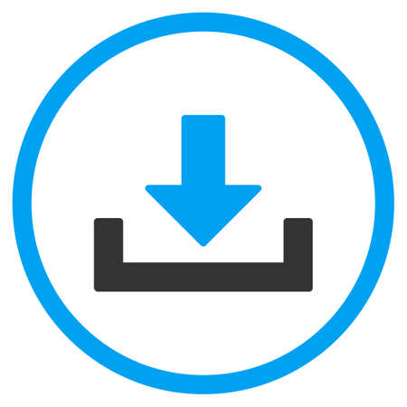 downgrade: Drop Down glyph icon. Style is bicolor flat circled symbol, blue and gray colors, rounded angles, white background. Stock Photo