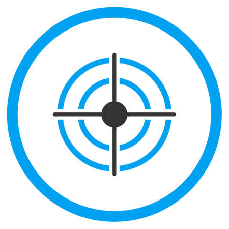 circled: Target glyph icon. Style is bicolor flat circled symbol, blue and gray colors, rounded angles, white background. Stock Photo