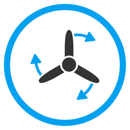 impeller: Three Bladed Screw Rotation glyph icon. Style is bicolor flat circled symbol, blue and gray colors, rounded angles, white background.