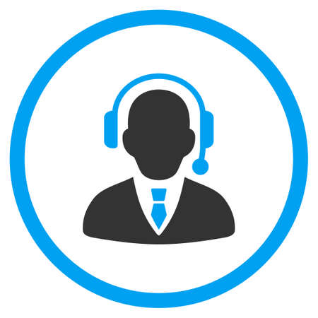 selected: Call Center Operator vector icon. Style is bicolor flat circled symbol, blue and gray colors, rounded angles, white background.