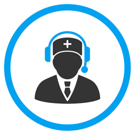 answers: Medic Call Center vector icon. Style is bicolor flat circled symbol, blue and gray colors, rounded angles, white background. Illustration